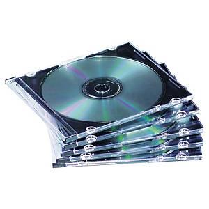 Vékony CD/DVD tok, fekete/átlátszó, 25 darab/csomag