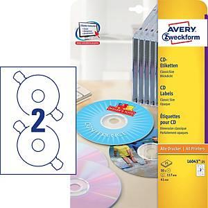 Avery CD-Etiketten, L6043-25, 25 Blätter, 50 Etiketten/Packung