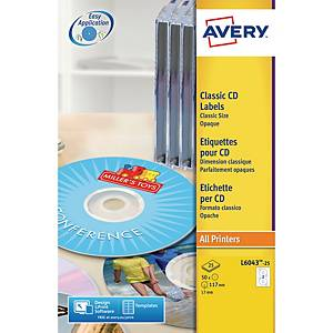 Etiketten Avery Zweckform L6043-25, CD/DVD, ClassicSize, weiss, Pk. à 25 Stk.