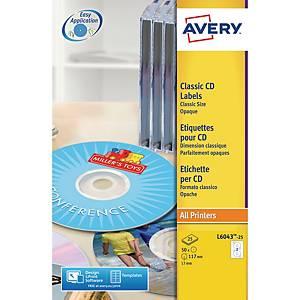 Étiquettes Avery Zweckform L6043-25, CD/DVD, taille classique, blanc, 25unit.