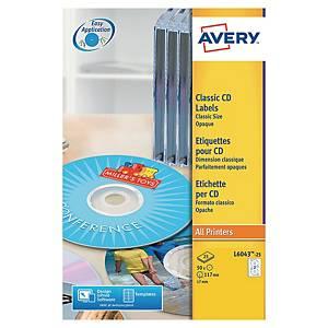 Etiquette CD/DVD Avery - L6043-25 - classique - blanche - par 50