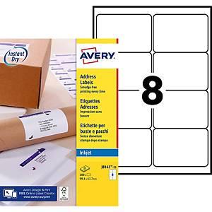 Etiquette adresse Avery - J8165-25 - 99,1 x 67,7 mm - blanche - par 200