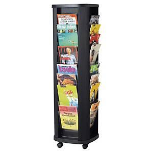 Présentoir mobile Paperflow Carrousel - 40 cases A4 - noir
