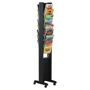 Présentoir mobile Paperflow Epi - 16 cases A4 - noir