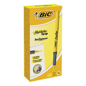 Bic Highlighter Grip Yellow Chisel Tip Pen - Box of 12