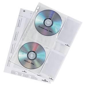 Durable 5222 geperforeerde showtassen voor 4 Cd of Dvd, PP, pak van 5 stuks