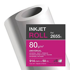 Clairefontaine Uncoated Inkjet Paper Plotter Rolls 80 gsm 50M X 914mm - Box of 6