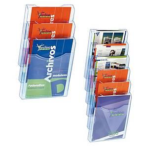 Expositor de parede Archivo 2000 - A4 - 3 compartimentos - azul transparente