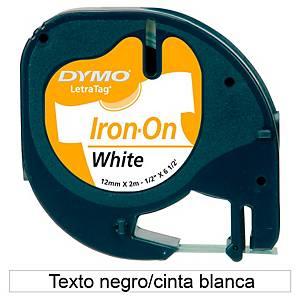 Fita rotulagem Dymo LetraTag - 12mm - tecido - preto em fundo branco