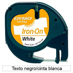 Cinta para rotular Dymo LetraTag - 12 mm - tela - negro fondo blanco