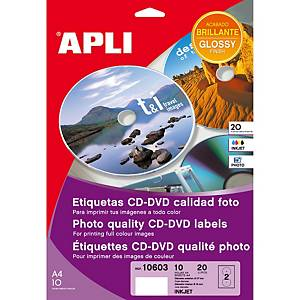 Caja de 20 etiquetas para CD/DVD Apli 10603 - Ø 117 mm - blanco