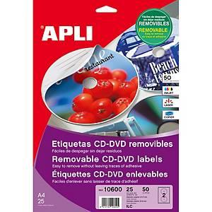 Caixa 50 etiquetas removíveis para CD/DVD Apli 10600 - Ø 117mm - branco