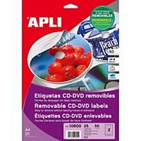 Caja de 50 etiquetas removibles para CD/DVD Apli 10600 - Ø 117 mm - blanco