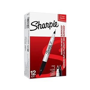 Sharpie Twin-Tip Permanent Markers Black - Pack Of 12