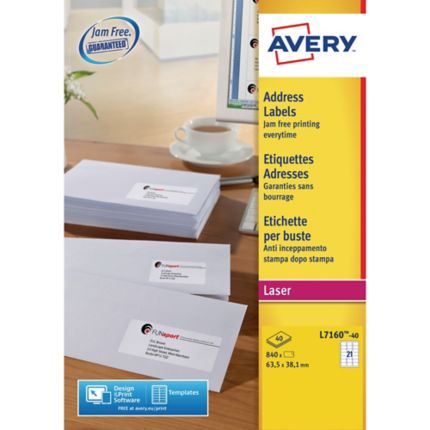 Avery L7160 40 Laser Labels 635 X 381 Mm Box Of 840