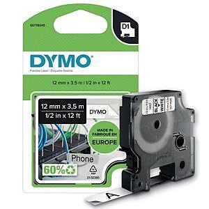 Schriftband Dymo D1 16953, Breite: 12mm, Nylon, schwarz/weiß