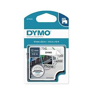 Ruban d étiquettes flexible Dymo D1, autocollant, polyester, 12 mm, noir/blanc