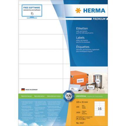 Etiketten Herma 4427 Premium 105 X 35mm Lxb Weiß 1600 Stück