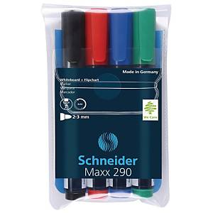 Marker do tablic suchościeralnych SCHNEIDER Maxx 290, zestaw 4 kolorów