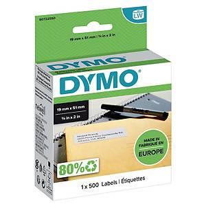 Dymo 11355 verwijderbare etiketten voor labelprinter, 19 x 51 mm, rol van 500