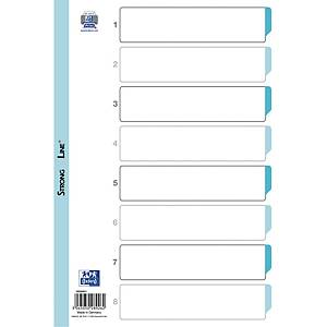 Skilleark Bantex, 1-8, A4, hvit plast