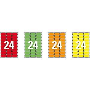 Caja de 480 etiquetas adhesivas Apli 02872 - 64 x 33,9 mm - rojo  fluorescente