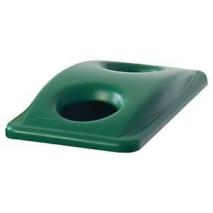 Couvercle poubelle tri sélectif  Rubbermaid Slim Jim - spécial verre - vert