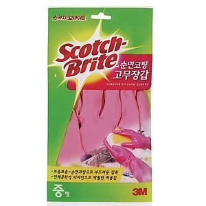 SCOTCH BRITE 고무장갑 분홍 491M-P (중)