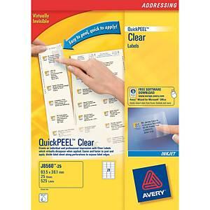 Caixa 525 etiquetas autocolantes transparentes Quickpeel J8560 - 63,5x38,1mm