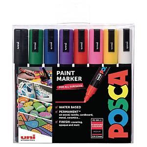 Paintmarker Uni-ball Posca PC-5M, æske a 8 farver