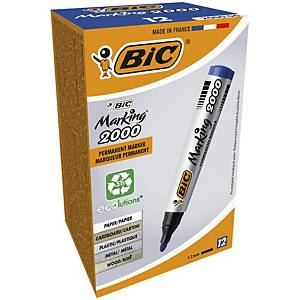 Bic 2000 Bullet Tip Blue Permanent Markers - Box of 12