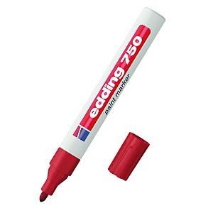 Marcatore indelebile Edding 750 fusto metallo punta tonda 2-4 mm rosso