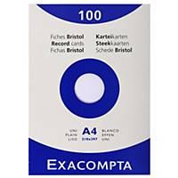 Exacompta systeemkaarten, blanco, 210 x 297 mm, wit, pak van 100 fiches
