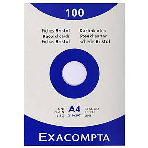 Exacompta systeemkaarten, blanco, 210 x 297 mm, wit, pak van 100 fiches