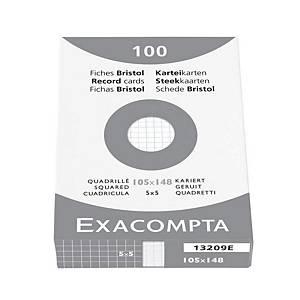 Lístky do kartotéky Exacompta, čtverečkované, A6, bílé