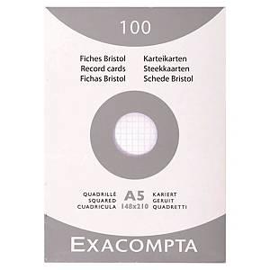 Fiche bristol Exacompta - quadrillée - blanche - 148 x 210 mm - étui 100 fiches