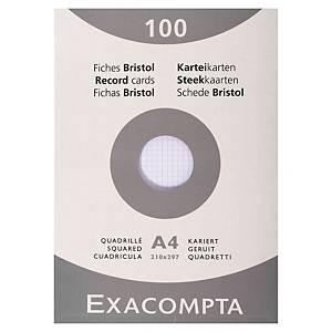 Fiche bristol Exacompta - quadrillée - blanche - 210 x 297 mm - étui 100 fiches