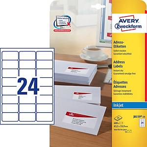 Avery J8159-25  Labels, 63.5 x 33.9 mm 24 Labels Per Sheet, 600 Labels Per Pack