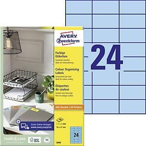 Univerzální etikety Avery, 3449, 70 x 37 mm, modré, 24 etiket/list