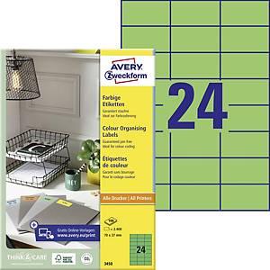 Univerzální etikety Avery, 3450, 70 x 37 mm zelené, 24 etiket/list