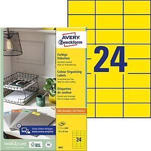 Etiquettes Zweckform 3451 70,0x37,0 mm, jaune, emb. de 2400 pcs