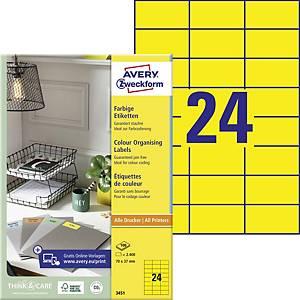 Avery címke, 3451, 70 x 37 mm, sárga, 2400 címke/csomag