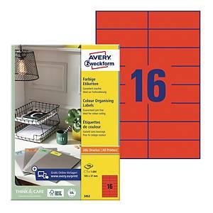 Trwałe etykiety kolorowe Avery Zweckform 105x37mm, czerwone, 1600 etykiet