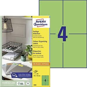 Avery 3458 zöld univerzális etikettek 105 x 148 mm, 4 etikett/ív, 100 ív/csomag