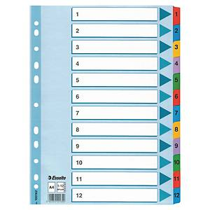 Register Esselte 100162, 1-12, A4, aus Karton,12 Blatt, weiß