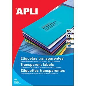 Caixa 480 etiquetas autocolantes Apli 01224 - 70x37 mm - transparentes