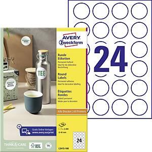 Okrúhle etikety Avery, L3415-100, priemer 40 mm, biele, 24 ks/hárok
