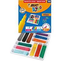 Bic Kids Visa Felt Tip Colouring Pens Fine nib - Ast Colours, Classpack of 144