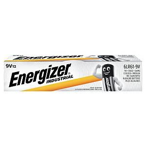 Energizer Industrial Batterien, 9V/LR61, Alkaline, Packung mit 12 Stück