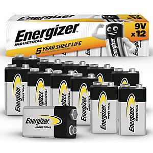 Batterier Energizer Industrial Alkaline 9V, förp. med 12 st.